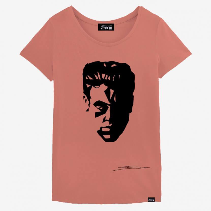 T-shirt femme rose en coton biologique Victor Delhez artiste belge