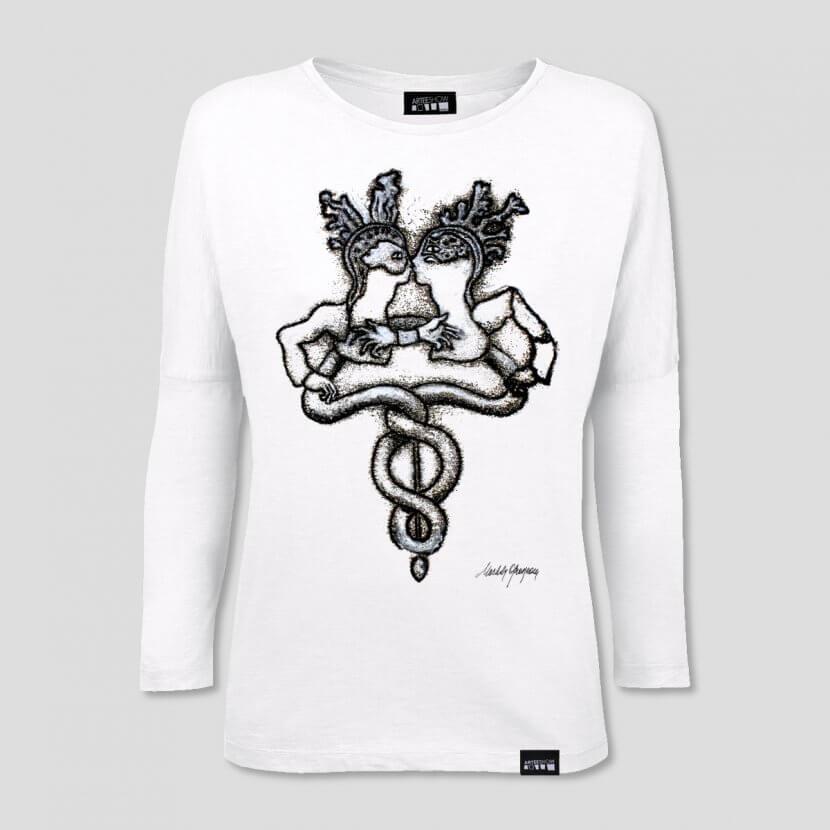 T-shirt femme blanc à manches longues et épaules tombantes en coton bio fin inspiré de l'œuvre de Michèle Grosjean, Rebis, 2015