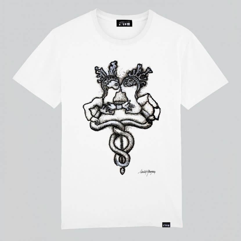 T-shirt homme blanc en coton bio de Michèle Grosjean art belge