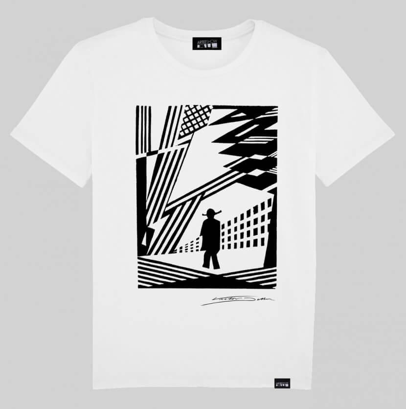 T-shirt Homme blanc Victor Delhez artiste anversois