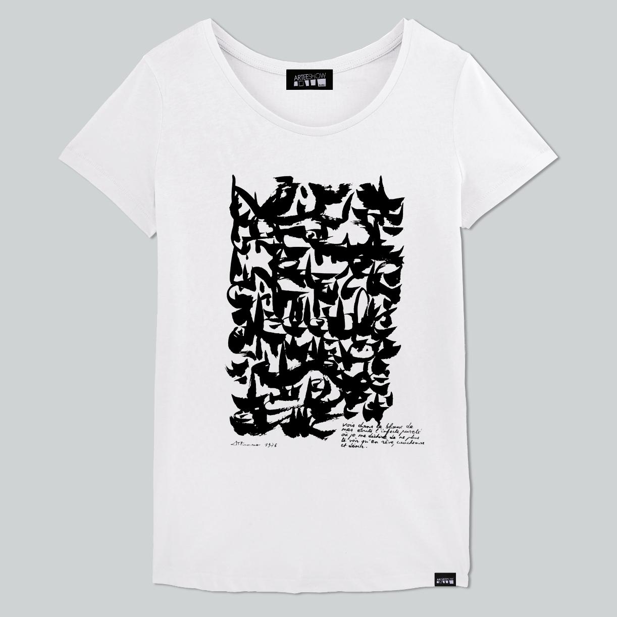 T Shirt Femme Blanc Imprimé En Belgique Inspiré De Dotremont Artiste Et  Poète Belge c25c0259994