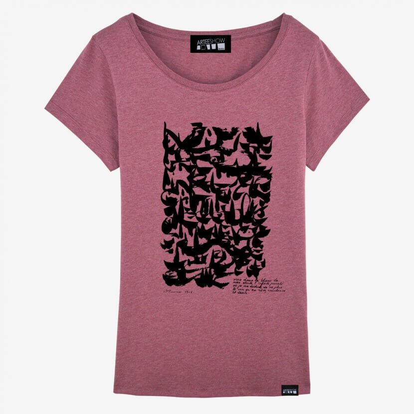 T-shirt femme rose framboise chiné imprimé en Belgique inspiré par Dotremont artiste belge