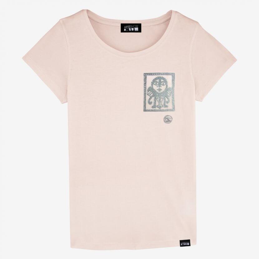 T-shirt femme rose Pierre Caille impression sérigraphie