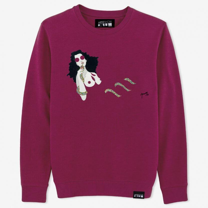 Sweat-shirt violet unisexe imprimé en Belgique