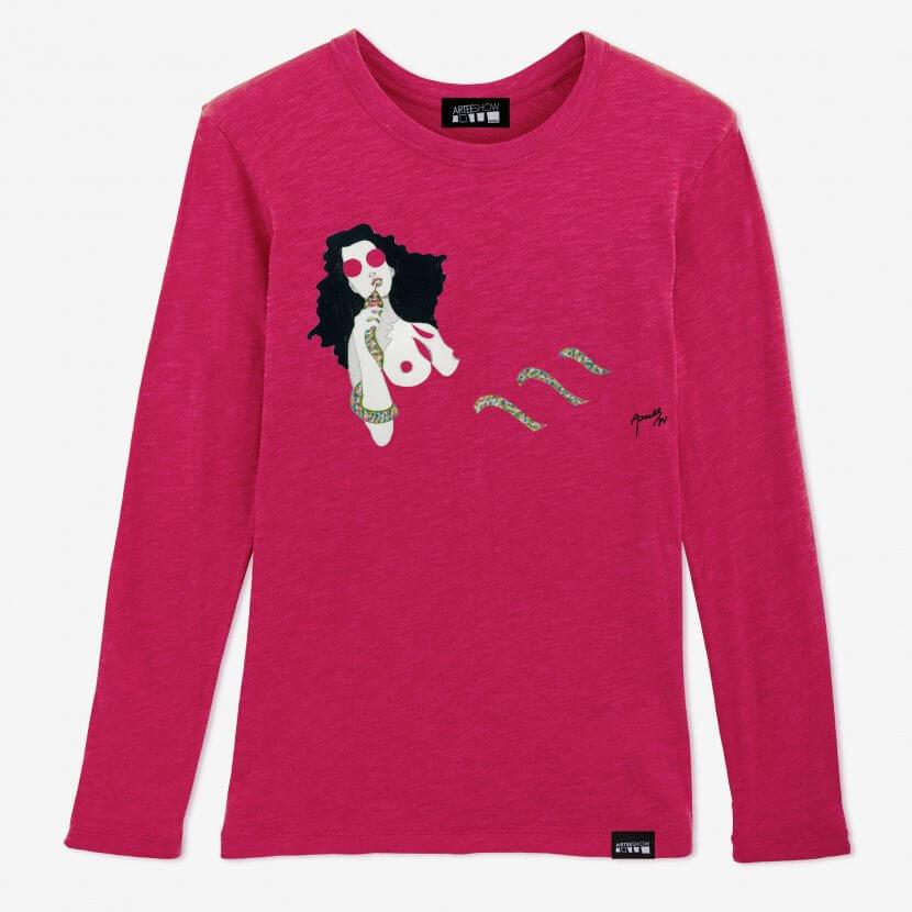 t-shirt femme rose à longues manches Axell pop art