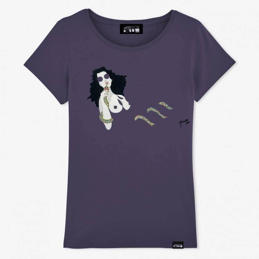 T-shirt femme couleur prune de Evelyne Axell artiste belge