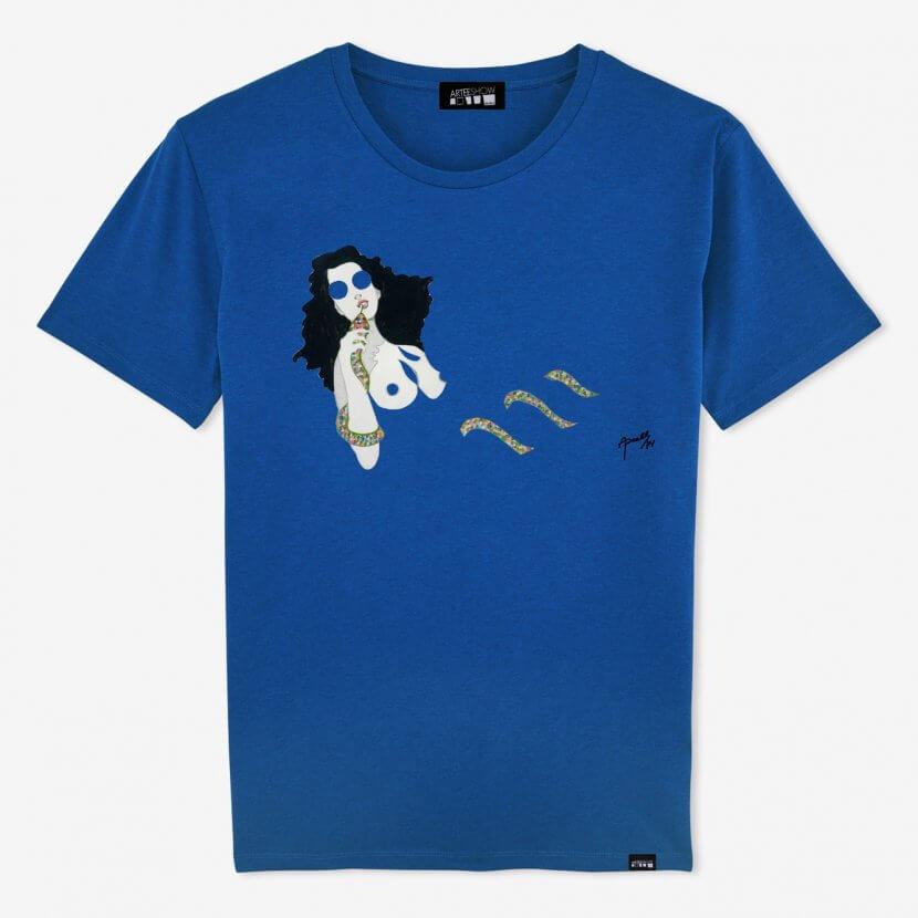 T-shirt Homme bleu en coton biologique de Evelyne Axell pop artiste