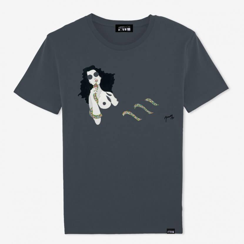 T-shirt Homme gris en coton biologique de Axell pop artiste belge