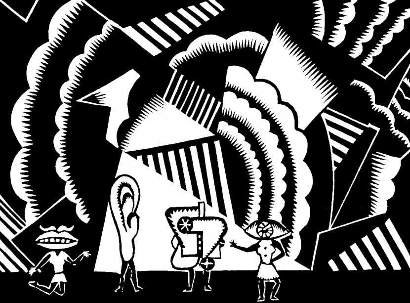 """Pierre-Louis Flouquet, 1925-26, projet de décor pour """"Le Cœur à gaz"""" de Tristan Tzara, Linogravure"""