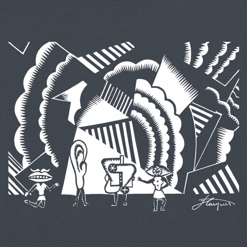 Détail tee-shirt homme imprimé en Belgique