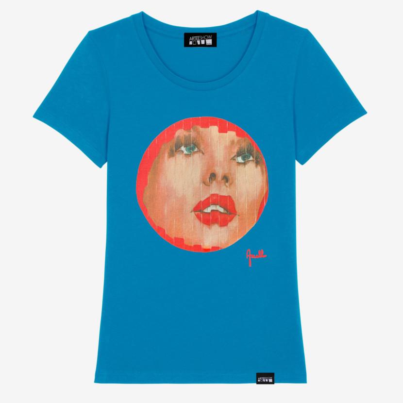 t-shirt femme bleu azur inspiré par evelyne axell