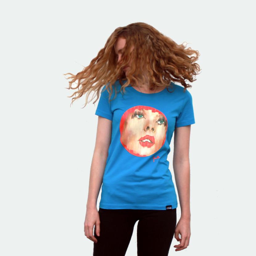t-shirt femme evelyne axell portrait fragmenté